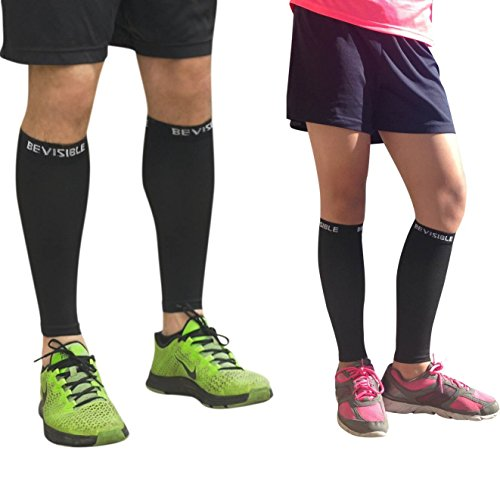 a532857c0c CALF COMPRESSION SLEEVE BeVisible Sports – Shin Splint Leg Compression Socks  for Men & Women – Great For Running, Cycling, Air Travel, Support, ...