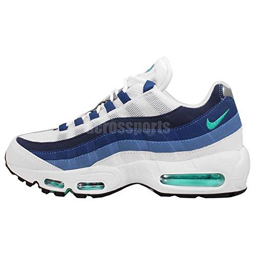 the latest e9b66 d1d8b Nike Men's Air Max 95 OG, WHITE/EMERALD GREEN-COURT BLUE-NEW SLATE