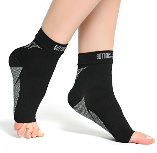 4d2ae0f378 Buttons & Pleats Foot Compression Sleeves – Toeless Socks for Heel Arch & Ankle  Braces Support – Relieves Pain of Plantar Fasciitis