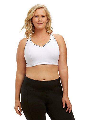 3828c55118fdc Marika Curves Women s Gabriella Sports Bra (Plus Size) 40D White ...