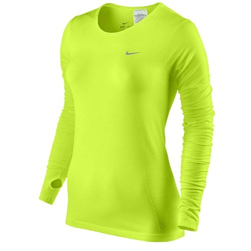 fb15e0e2 Nike Women's Dri-FIT Knit Long-Sleeve Running Shirt, Volt, Small ...