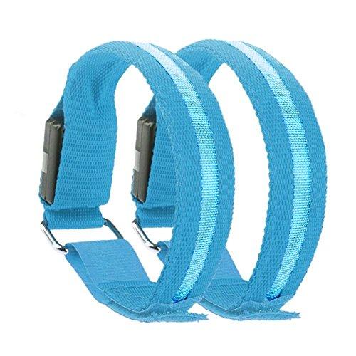 LED Sports Safety Armbands Blue Reflective Flexible Bracelet Belt For Night Walk