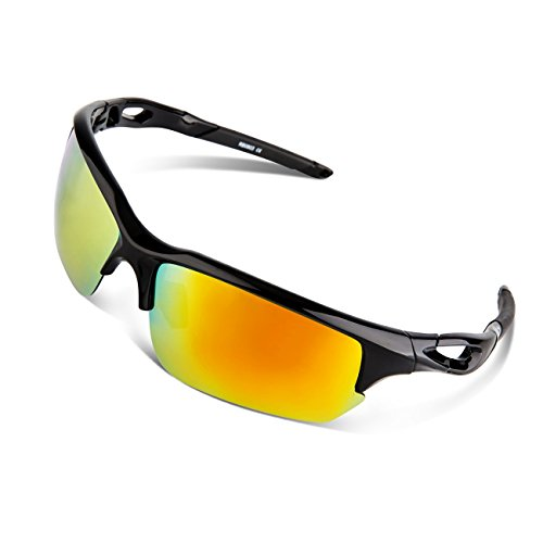 e1d0dbb533 RIVBOS® Polarized Sports Sunglasses Glasses for Men Women Tr90 Unbreakable  Frame with Case for Cycling Baseball Running Rb803