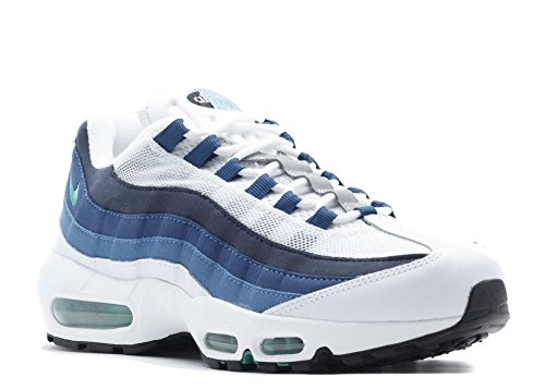 the latest d9f98 ef025 Nike Men's Air Max 95 OG, WHITE/EMERALD GREEN-COURT BLUE-NEW SLATE